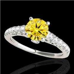 1.75 CTW Certified SI/I Fancy Intense Yellow Diamond Solitaire Ring 10K White Gold - REF-309K3W - 34