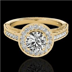 1.50 CTW H-SI/I Certified Diamond Solitaire Halo Ring 10K Yellow Gold - REF-200A2V - 33744