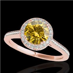 1.55 CTW Certified SI/I Fancy Intense Yellow Diamond Solitaire Halo Ring 10K Rose Gold - REF-234H5M