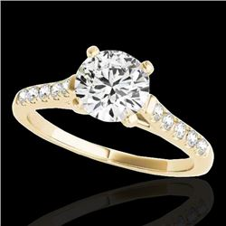 1.45 CTW H-SI/I Certified Diamond Solitaire Ring 10K Yellow Gold - REF-163W5H - 34981