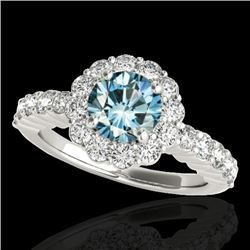 1.75 CTW SI Certified Fancy Blue Diamond Solitaire Halo Ring 10K White Gold - REF-180W2H - 34164