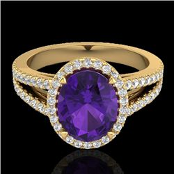 3 CTW Amethyst & Micro VS/SI Diamond Halo Solitaire Ring 18K Yellow Gold - REF-67N6A - 20928