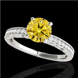 1.18 CTW Certified SI Intense Yellow Diamond Solitaire Antique Ring 10K White Gold - REF-174H5M - 34