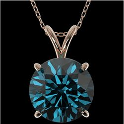 2.50 CTW Certified Intense Blue SI Diamond Solitaire Necklace 10K Rose Gold - REF-575F7N - 33247