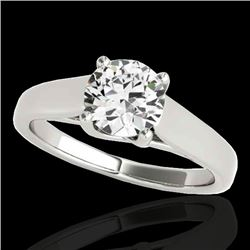 1 CTW H-SI/I Certified Diamond Solitaire Ring 10K White Gold - REF-138W2H - 35525