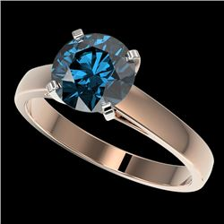 2 CTW Certified Intense Blue SI Diamond Solitaire Engagement Ring 10K Rose Gold - REF-344X5R - 33036