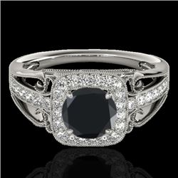 1.30 CTW Certified VS Black Diamond Solitaire Halo Ring 10K White Gold - REF-66M4F - 33772