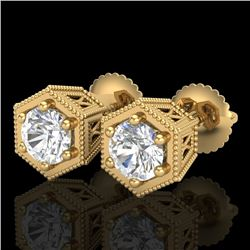 1.15 CTW VS/SI Diamond Solitaire Art Deco Stud Earrings 18K Yellow Gold - REF-174Y5X - 37219