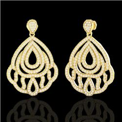 3 CTW Micro Pave VS/SI Diamond Certified Earrings Designer 18K Yellow Gold - REF-280X2R - 21148