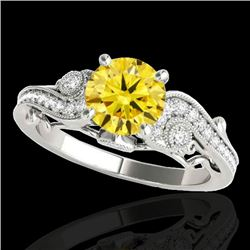 1.25 CTW Certified SI Intense Yellow Diamond Solitaire Antique Ring 10K White Gold - REF-156M4F - 34