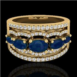 2.25 CTW Sapphire & Micro Pave VS/SI Diamond Certified Designer Ring 10K Yellow Gold - REF-71F3N - 2