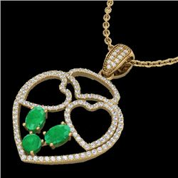 3 CTW Emerald & Micro Pave Designer Inspired Heart Necklace 14K Yellow Gold - REF-117N8A - 22540