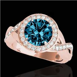 2 CTW SI Certified Fancy Blue Diamond Solitaire Halo Ring 10K Rose Gold - REF-241N5A - 33282