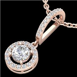 0.90 CTW Micro Pave Halo Solitaire VS/SI Diamond Certified necklace 14K Rose Gold - REF-109Y3X - 232
