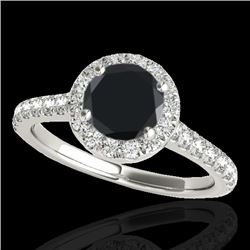 1.40 CTW Certified VS Black Diamond Solitaire Halo Ring 10K White Gold - REF-63H8M - 33583