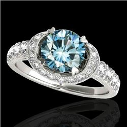 1.75 CTW SI Certified Fancy Blue Diamond Solitaire Halo Ring 10K White Gold - REF-180Y2X - 34455