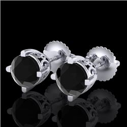 1.50 CTW Fancy Black Diamond Solitaire Art Deco Stud Earrings 18K White Gold - REF-70K9W - 38066
