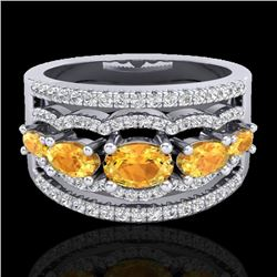 2.25 CTW Citrine & Micro Pave VS/SI Diamond Certified Designer Ring 10K White Gold - REF-71N8A - 207