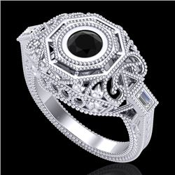 0.75 CTW Fancy Black Diamond Solitaire Engagement Art Deco Ring 18K White Gold - REF-118A2V - 37814