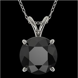 2 CTW Fancy Black VS Diamond Solitaire Necklace 10K White Gold - REF-43Y2X - 33233
