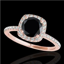 1.50 CTW Certified VS Black Diamond Solitaire Halo Ring 10K Rose Gold - REF-60Y4X - 33338