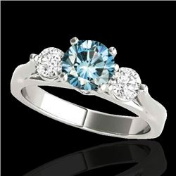 1.50 CTW SI Certified Fancy Blue Diamond 3 Stone Ring 10K White Gold - REF-180W2H - 35372