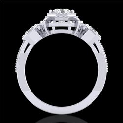 1.01 CTW VS/SI Diamond Solitaire Art Deco 3 Stone Ring 18K White Gold - REF-200R2K - 36881