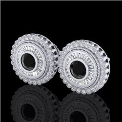 2.61 CTW Fancy Black Diamond Solitaire Art Deco Stud Earrings 18K White Gold - REF-236R4K - 37905