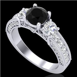 2.07 CTW Fancy Black Diamond Solitaire Art Deco 3 Stone Ring 18K White Gold - REF-200R2K - 37779