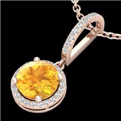 2 CTW Citrine & Micro Pave VS/SI Diamond Necklace Designer Halo 14K Rose Gold - REF-44W7H - 23193