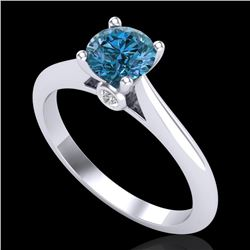 0.83 CTW Fancy Intense Blue Diamond Solitaire Art Deco Ring 18K White Gold - REF-87X3R - 38195