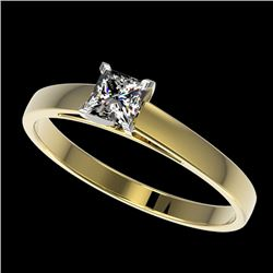 0.50 CTW Certified VS/SI Quality Princess Diamond Solitaire Ring 10K Yellow Gold - REF-64N3A - 32967