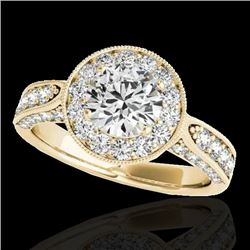 2 CTW H-SI/I Certified Diamond Solitaire Halo Ring 10K Yellow Gold - REF-253H6M - 34497