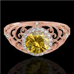 1.22 CTW Certified SI/I Fancy Intense Yellow Diamond Solitaire Halo Ring 10K Rose Gold - REF-236H4M