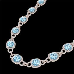 66 CTW Topaz & Micro VS/SI Diamond Certified Eternity Necklace 14K Rose Gold - REF-805X3R - 23053
