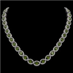 49.46 CTW Tourmaline & Diamond Necklace White Gold 10K White Gold - REF-763R6K - 40967