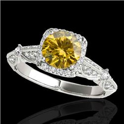 1.36 CTW Certified SI/I Fancy Intense Yellow Diamond Solitaire Halo Ring 10K White Gold - REF-218V2Y