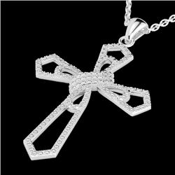 1 CTW Micro Pave VS/SI Diamond Certified Cross Necklace 18K White Gold - REF-107A3V - 22577