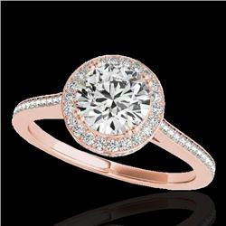 1.55 CTW H-SI/I Certified Diamond Solitaire Halo Ring 10K Rose Gold - REF-250R9K - 33527