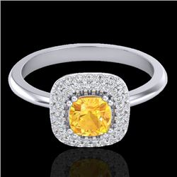 1.16 CTW Citrine & Micro VS/SI Diamond Ring Solitaire Double Halo 18K White Gold - REF-72F9N - 21026