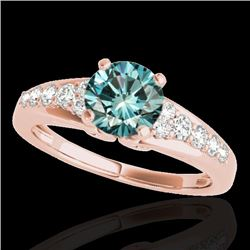 1.40 CTW SI Certified Fancy Blue Diamond Solitaire Ring 10K Rose Gold - REF-160R2K - 35002