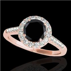1.50 CTW Certified VS Black Diamond Solitaire Halo Ring 10K Rose Gold - REF-72R7K - 33485