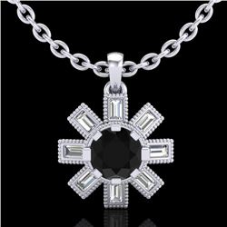 1.33 CTW Fancy Black Diamond Solitaire Art Deco Stud Necklace 18K White Gold - REF-136H4M - 37870