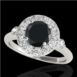 1.50 CTW Certified VS Black Diamond Solitaire Halo Ring 10K White Gold - REF-69M3F - 33457