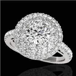 2.09 CTW H-SI/I Certified Diamond Solitaire Halo Ring 10K White Gold - REF-220A2V - 33688
