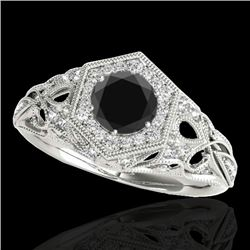1.40 CTW Certified VS Black Diamond Solitaire Antique Ring 10K White Gold - REF-78N9A - 34178