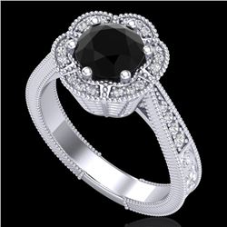 1.33 CTW Fancy Black Diamond Solitaire Engagement Art Deco Ring 18K White Gold - REF-89F3N - 37954
