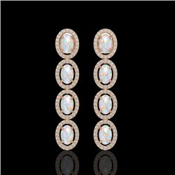 4.05 CTW Opal & Diamond Earrings Rose Gold 10K Rose Gold - REF-112W7H - 40911