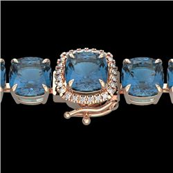 35 CTW London Blue Topaz & Micro VS/SI Diamond Halo Bracelet 14K Rose Gold - REF-152W2H - 23331