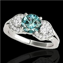 1.70 CTW SI Certified Fancy Blue Diamond 3 Stone Ring 10K White Gold - REF-218R2K - 35345